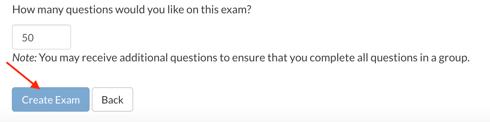 Click Create Exam
